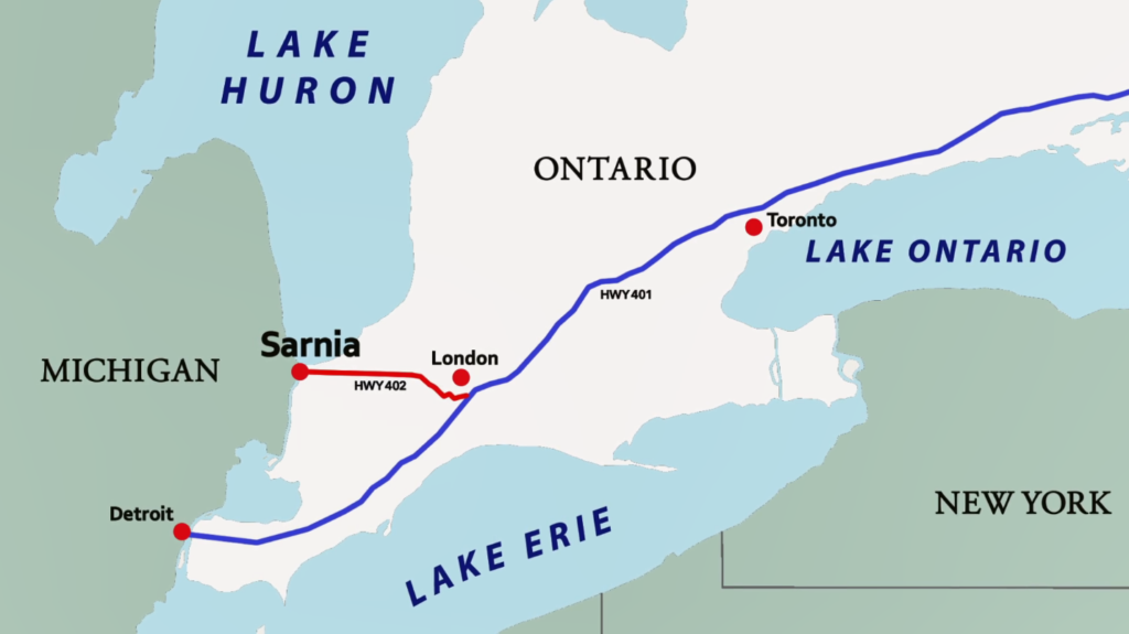 Image of Sarnia on map: bordering with Port Huron, Michigan.
