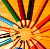 Picture of pencil crayons making a circle