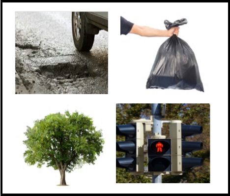 picture of pothole, garbage bag, tree and traffic lights