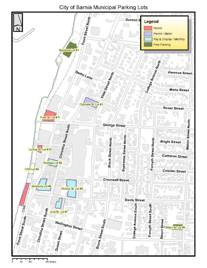 map of municipal parking lots