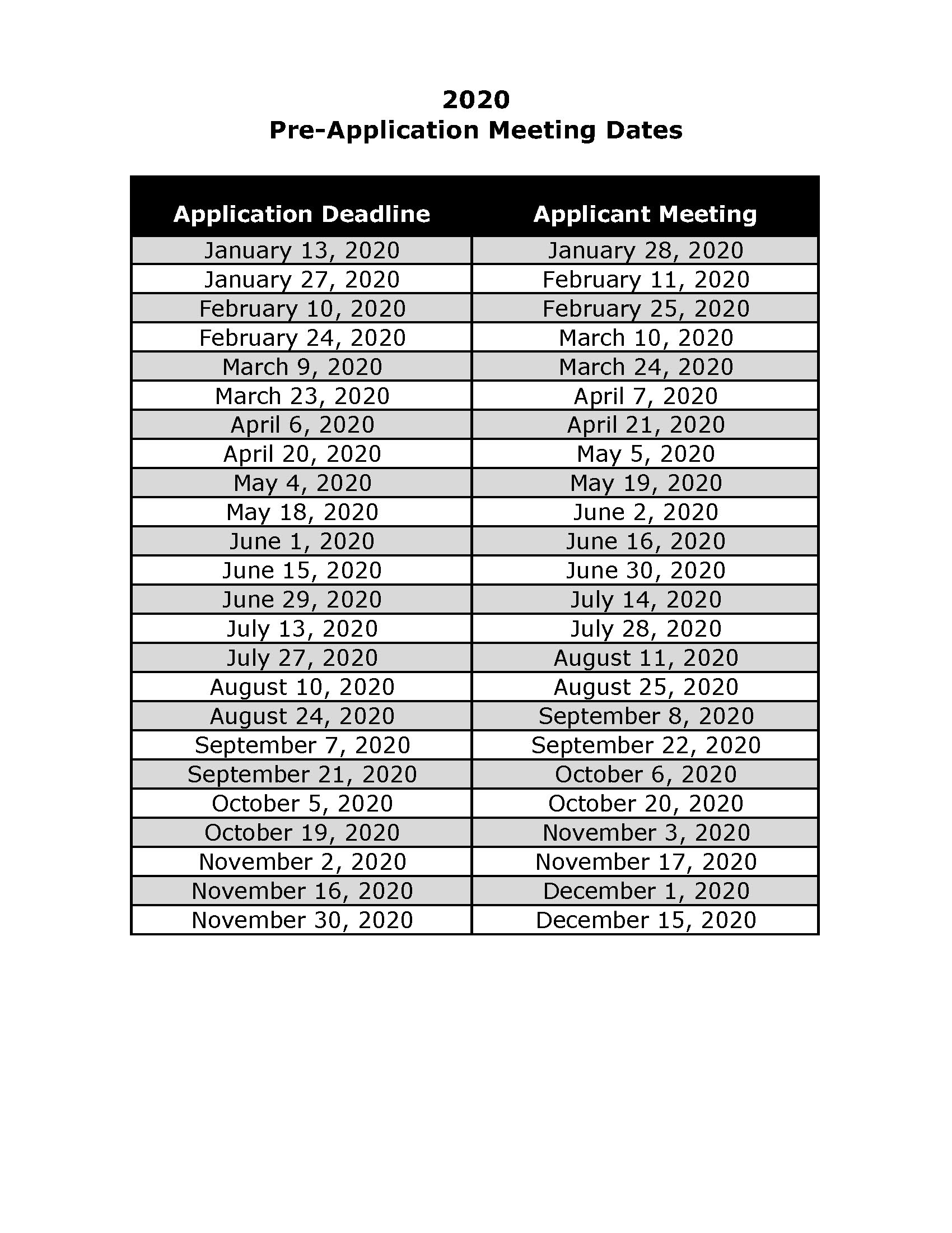 2020 Pre-Application Meeting Schedule